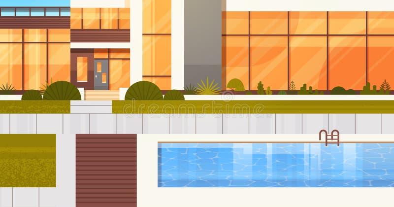 Ingång till den lyxiga villan eller hotell med det near huset för simbassäng royaltyfri illustrationer