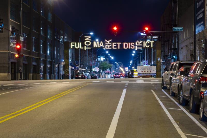 Ingång till Fulton Market District royaltyfri foto