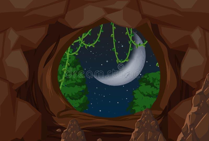 Ingång till grottanattplatsen royaltyfri illustrationer