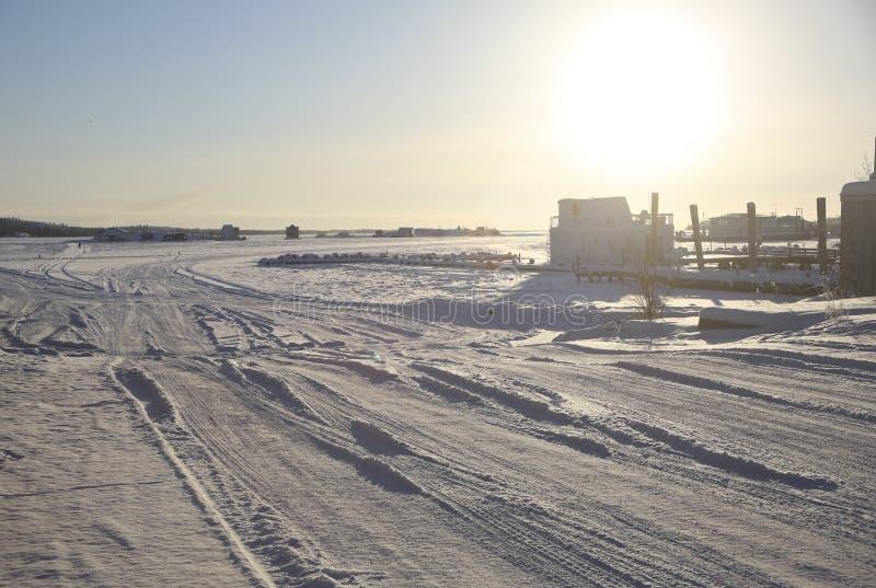 Ingång till isvägen, Yellowknife royaltyfri foto