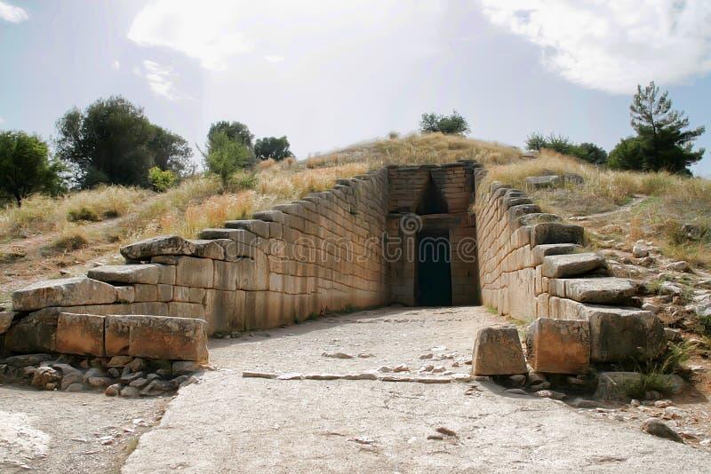 Ingång till Mycenae, Grekland arkivfoton