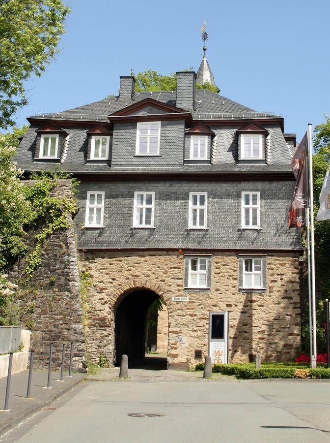 Ingång till Oberen Schlos germany royaltyfria bilder