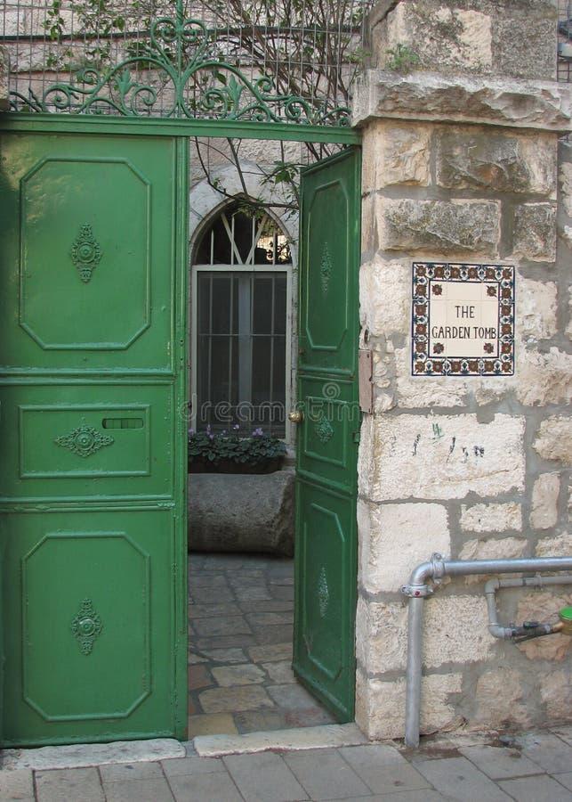 Ingång till trädgårdgravvalvet, Jerusalem, Israel fotografering för bildbyråer