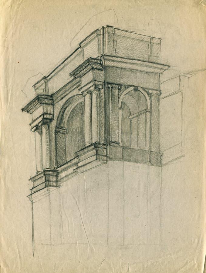 Ingången av den gamla teaterbyggnadsblyertspennan skissar royaltyfri illustrationer
