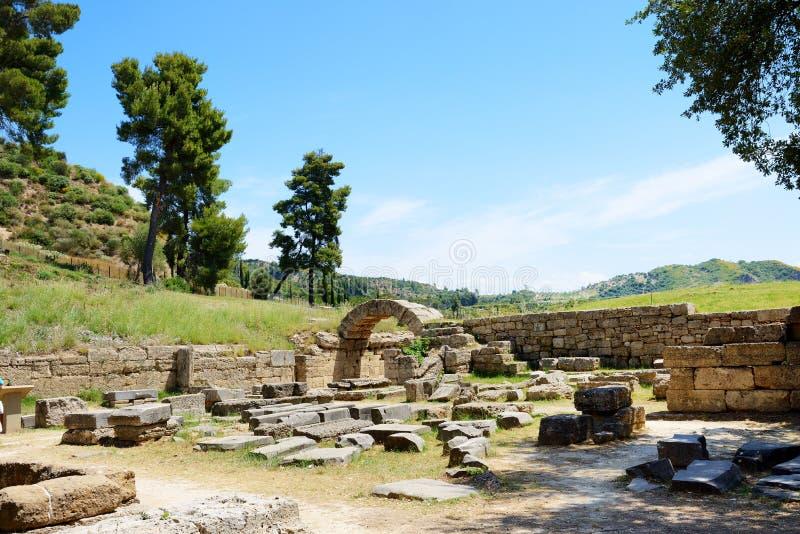Ingången i forntida Olympia Stadium arkivfoto