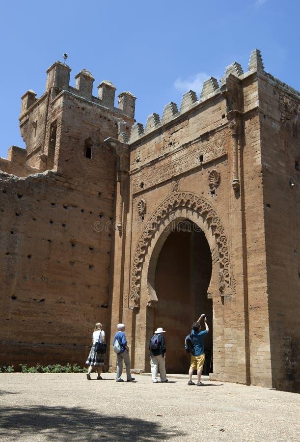 Ingången till den forntida romerska staden av Chellah som är lokaliserad söder av Rabat i Marocko arkivbild