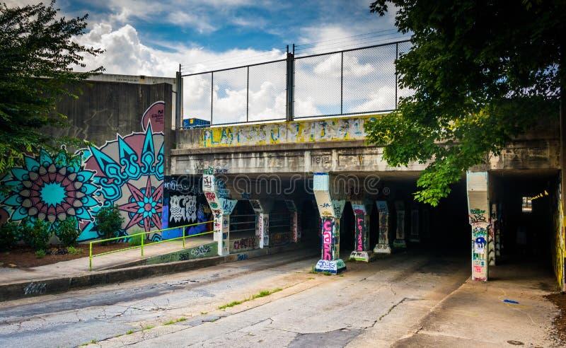Ingången till den Krog gatatunnelen i Atlanta, Georgia royaltyfria foton