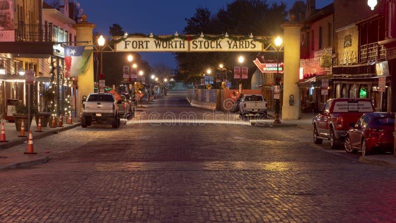 Ingången till det historiska Forthet Worth lagerför gårdar, Texas arkivfoton