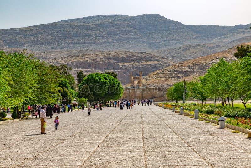 Ingången till fördärvar av Persepolis fotografering för bildbyråer