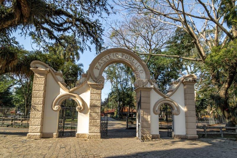 Ingången till Passeio Publico parkerar - Curitiba, Parana, Brasilien arkivfoton