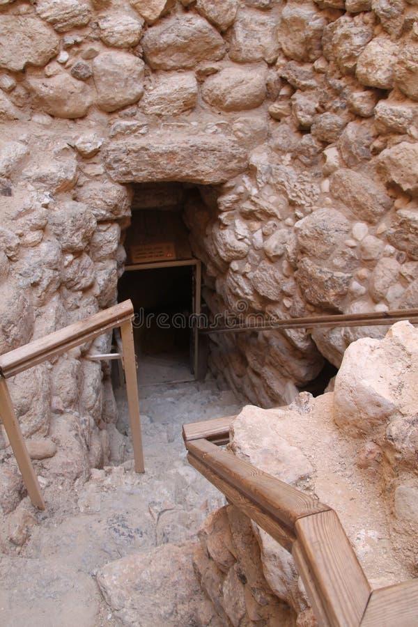 Ingången till vattenfabriken fördärvar, telefon-öl Sheva, Israel royaltyfri foto