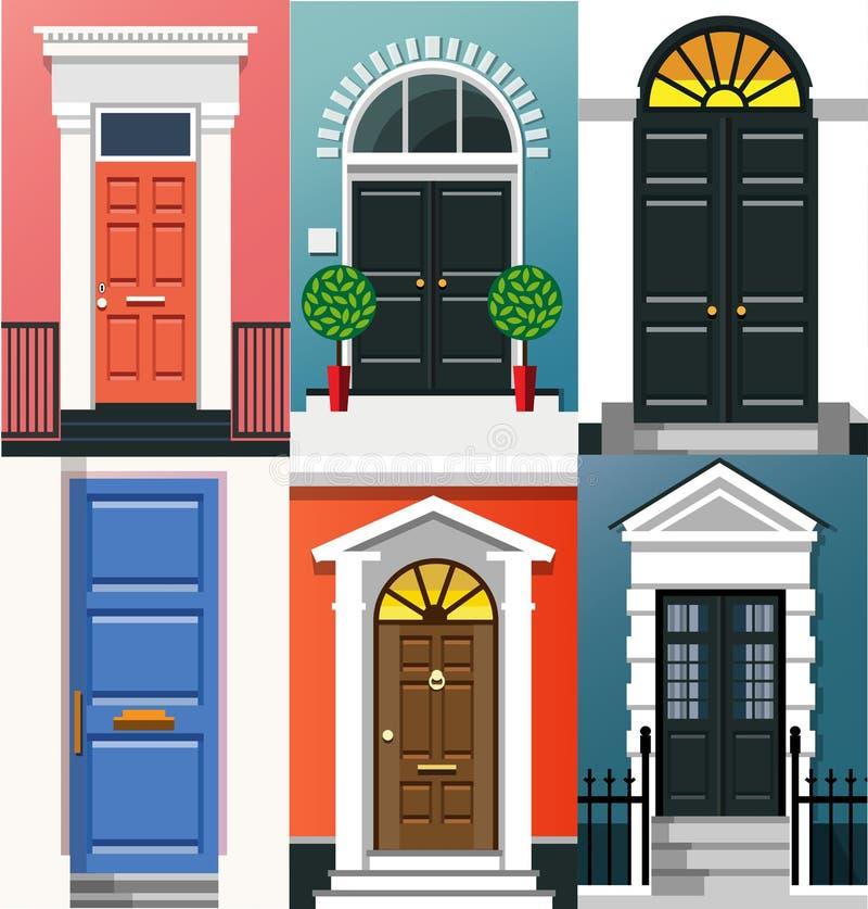 Ingångsdörrar royaltyfri illustrationer