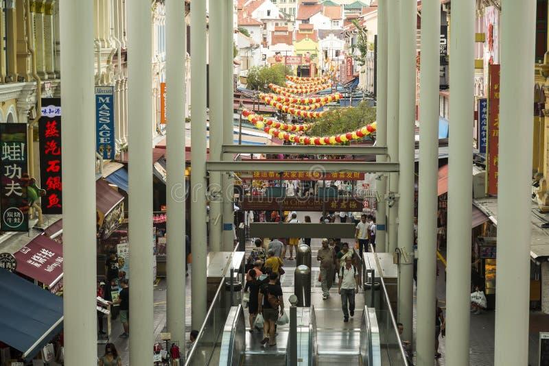 Ingångsgångtunnel i kineskvarter i Singapore arkivbilder