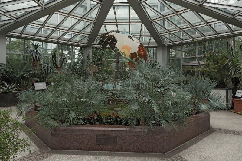 Ingångsområde av ‹för †Tropicariumen med världsjordklotet i gömma i handflatanträdgården i den Frankfurt Tyskland royaltyfri fotografi