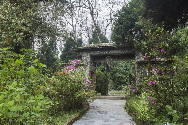 Ingångsporten av biologiskt parkerar nära det Temi tegodset, Sikkim, Indien royaltyfria bilder