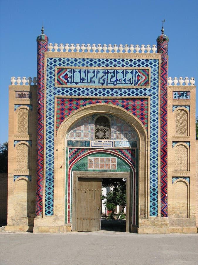 IngångsSitorai Mokhi-Khosa slott i Bukhara royaltyfri fotografi