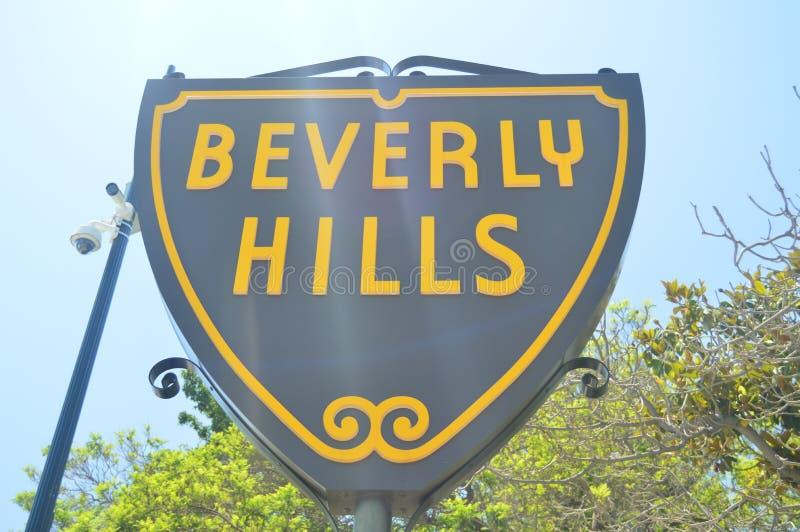 Ingångstecken till Beverly Hills Neighborhood arkivfoto