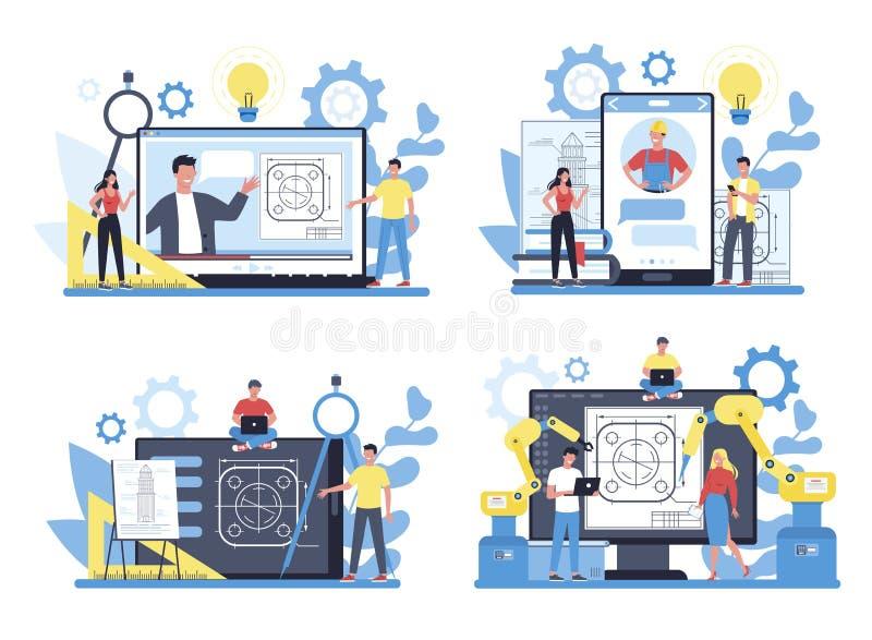 Ingénierie d'un service ou d'une plate-forme en ligne sur un concept de périphérique différent illustration stock