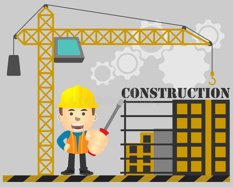 Ingénierie de construction avec le tournevis à disposition sur le fond en construction illustration stock