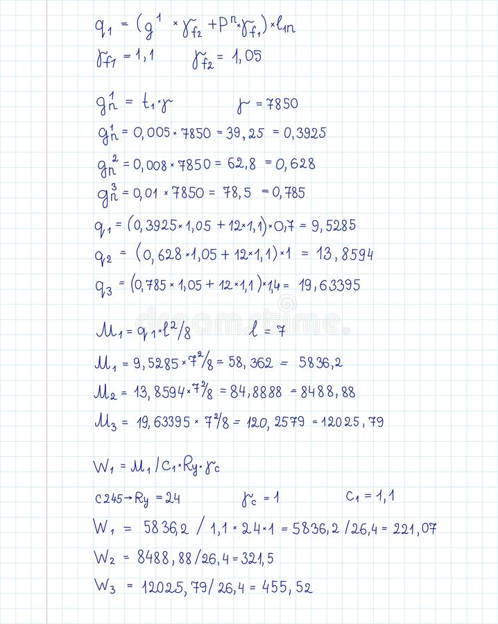 Ingénierie et équation et calculs de mathématiques manuscrits à la page de carnet Illustration de vecteur illustration de vecteur