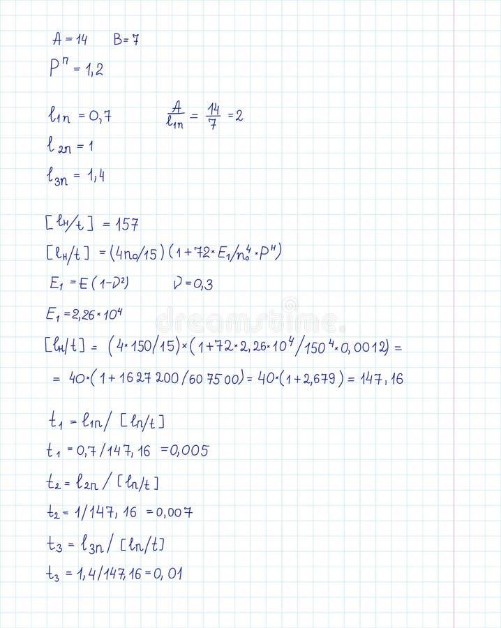 Ingénierie et équation et calculs de mathématiques manuscrits à la page commune Illustration de vecteur illustration stock