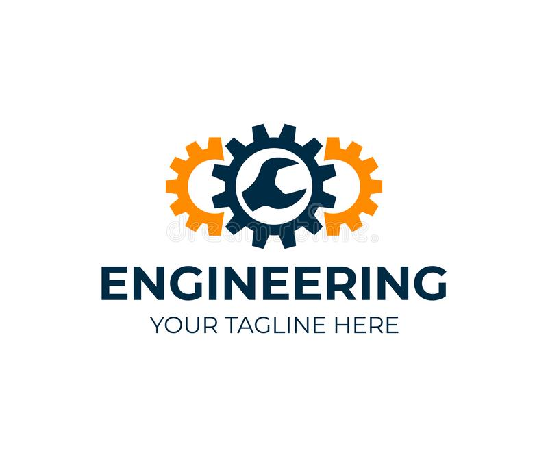 Ingénierie, vitesses et clé, conception de logo Réparation, service, industrie, industriel et mécanique, conception de vecteur illustration libre de droits