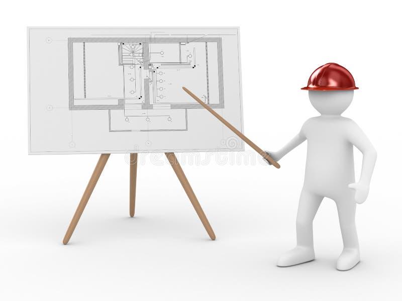 Ingénieur au panneau avec le plan illustration stock