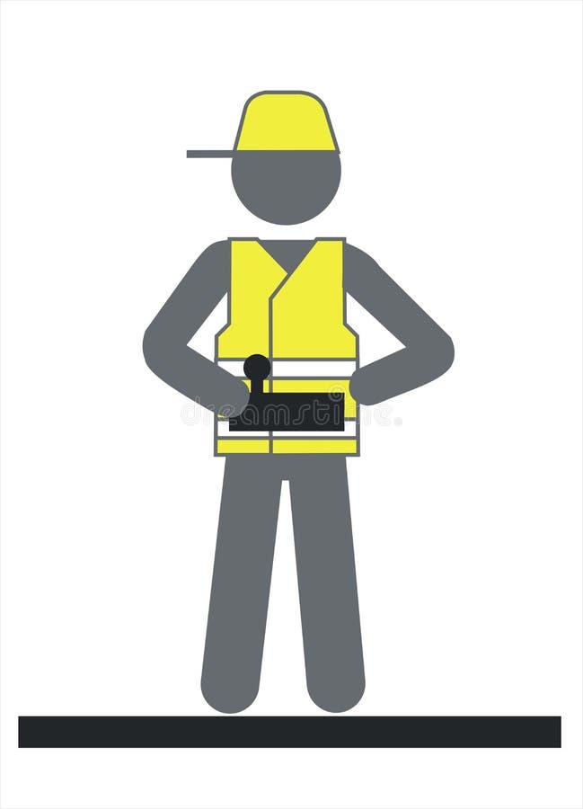 Ingénieur avec à télécommande dans le casque jaune, ouvrier illustration de vecteur