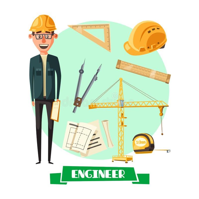 Ingénieur avec l'icône d'outil pour la conception de profession illustration libre de droits