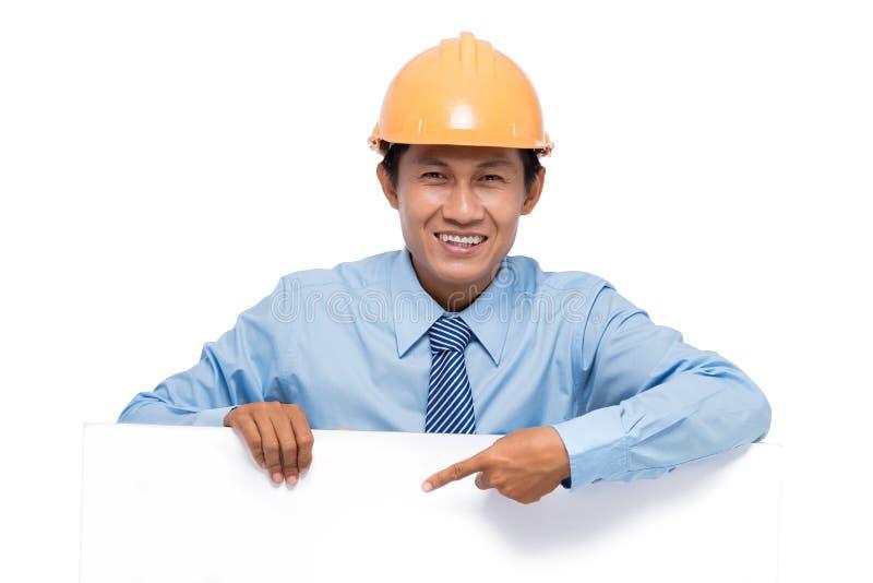 Ingénieur avec le conseil vide images stock