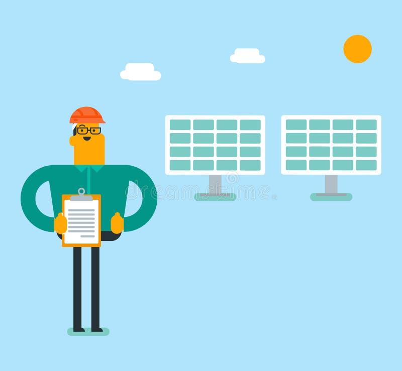Ingénieur blanc caucasien de centrale solaire illustration stock