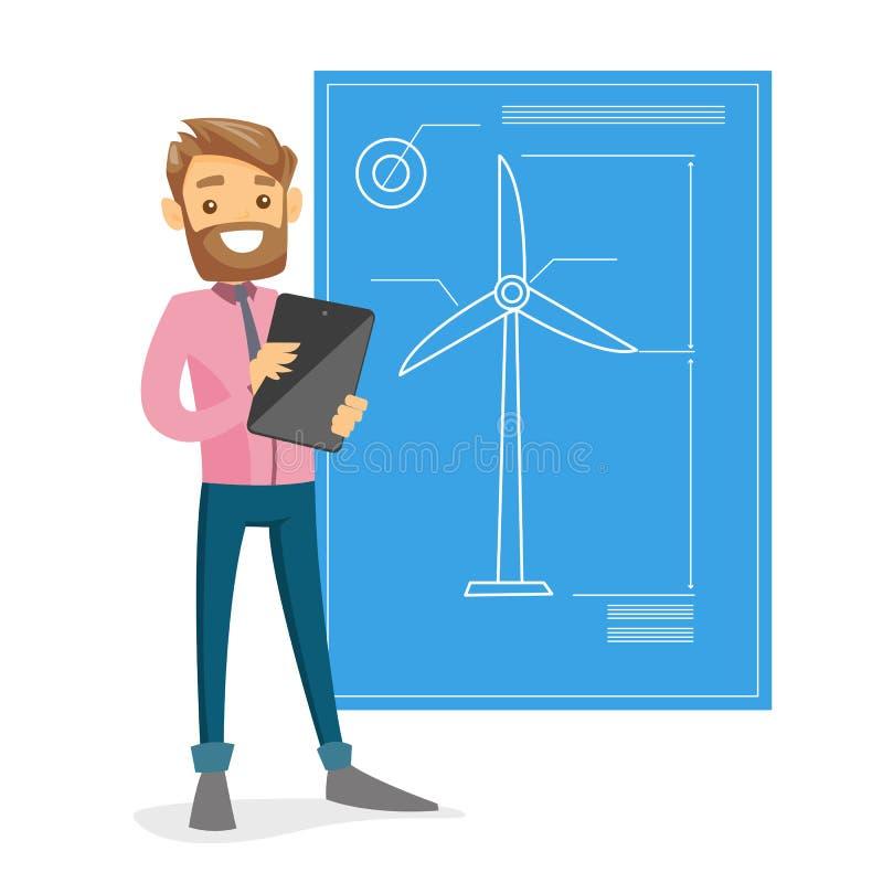 Ingénieur blanc caucasien projetant une turbine de vent illustration stock