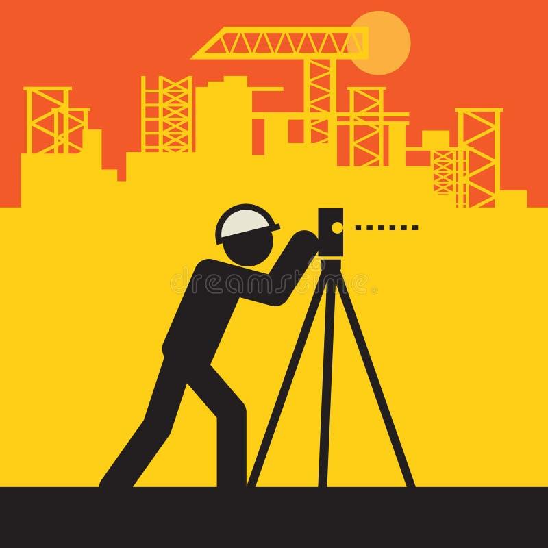 Ingénieur civil utiliser le théodolite illustration libre de droits