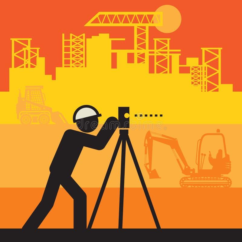 Ingénieur civil utiliser le théodolite illustration stock