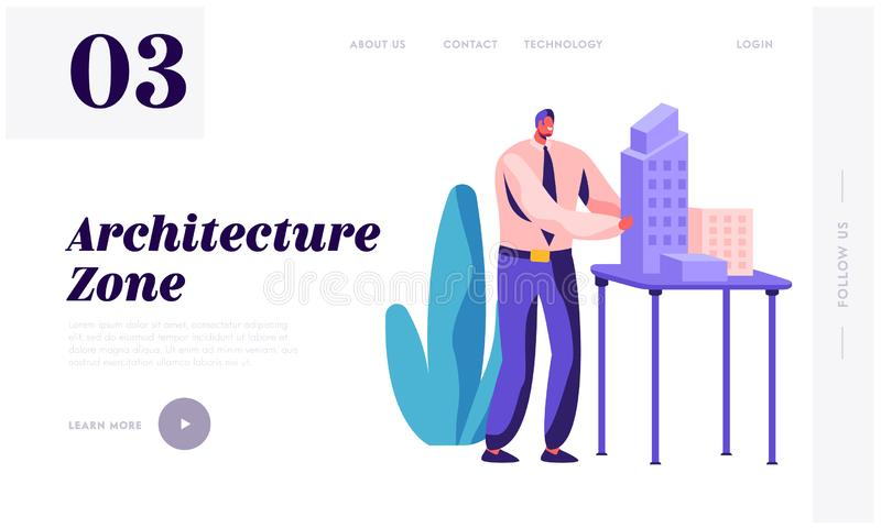 Ing?nieur Create Building Project d'architecte en page d'atterrissage de bureau Constructeur Group Working sur la construction de illustration stock