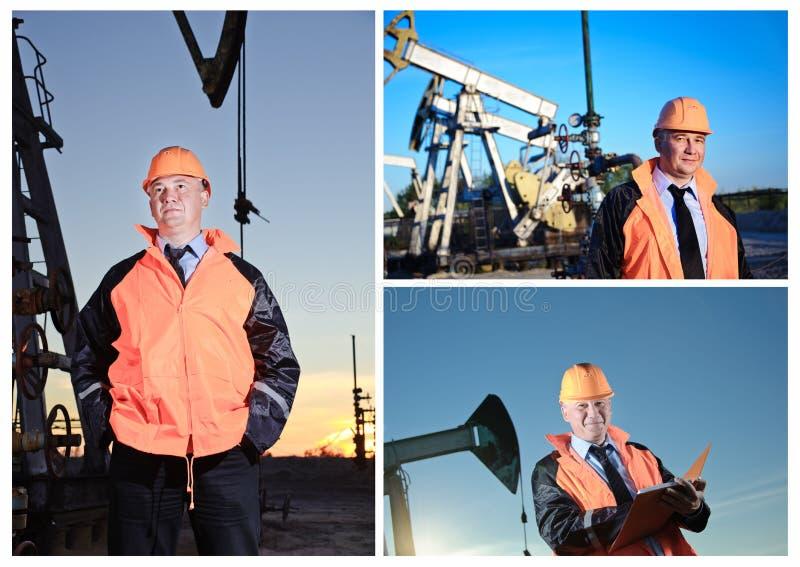Ingénieur dans un gisement de pétrole image stock