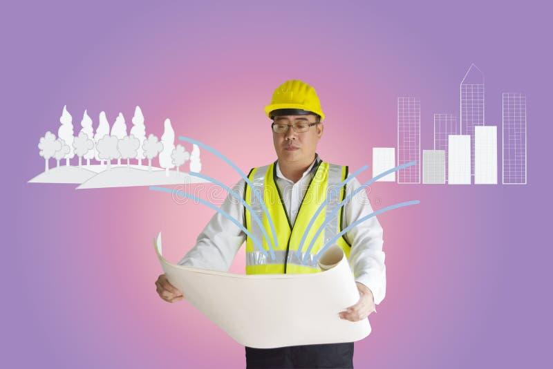 Ingénieur de construction asiatique tenant le papier La forêt et le bâtiment sont les lignes tirées de griffonnage Concept d'équi illustration stock