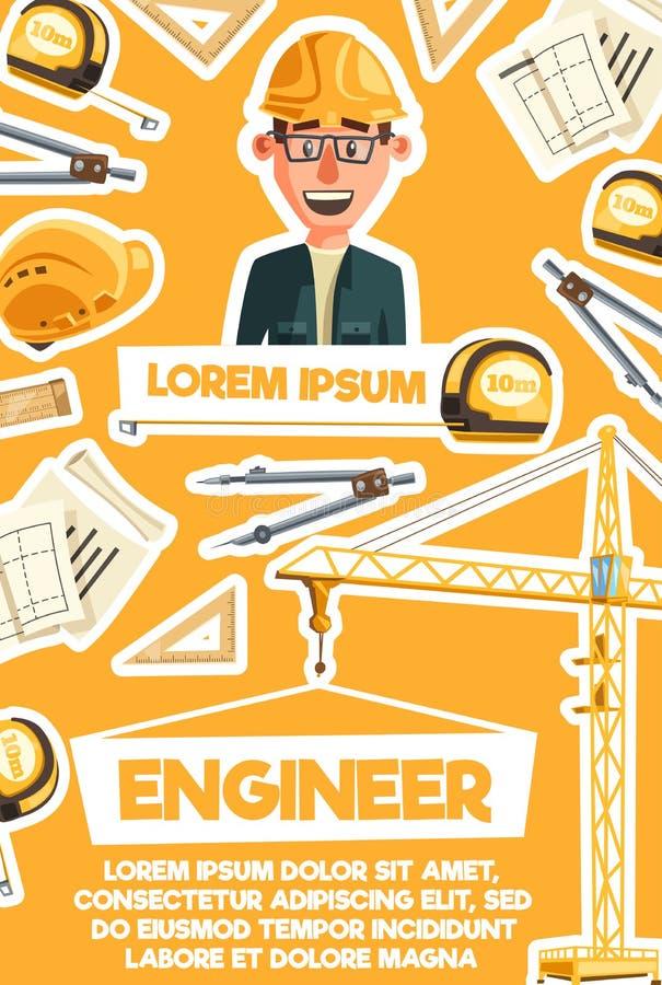 Ingénieur de construction, bannière de profession d'architecte illustration stock