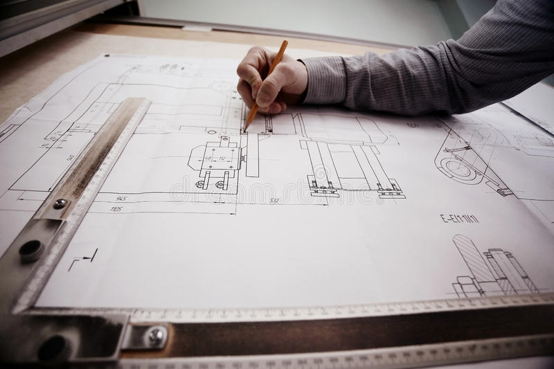 Ingénieur de dessin de concepteur de concept images libres de droits