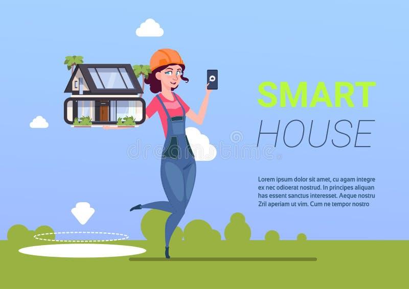 Ingénieur Holding Smart House, ModernTechnology de femme de concept de domotique illustration de vecteur
