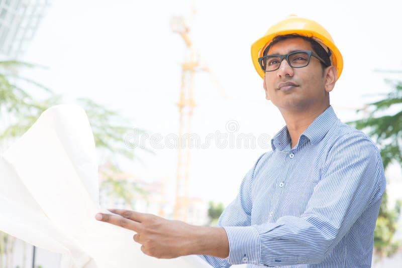 Ingénieur indien d'entrepreneur de site photo stock