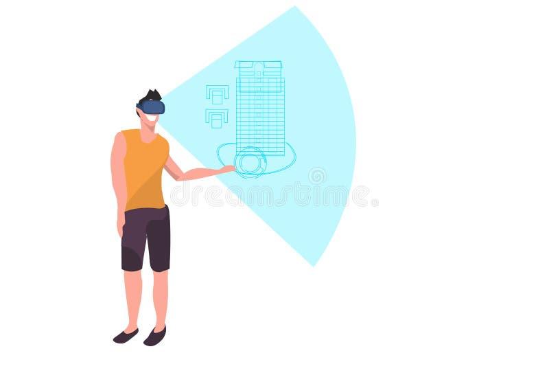 Ingénieur occasionnel d'homme portant le concept numérique de projet de cuisson de vision de casque de vr de plan de bâtiment de  illustration libre de droits