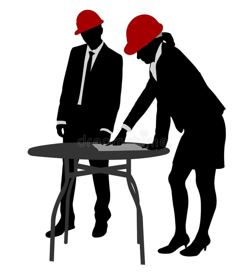 Ingénieurs travaillant des silhouettes illustration stock