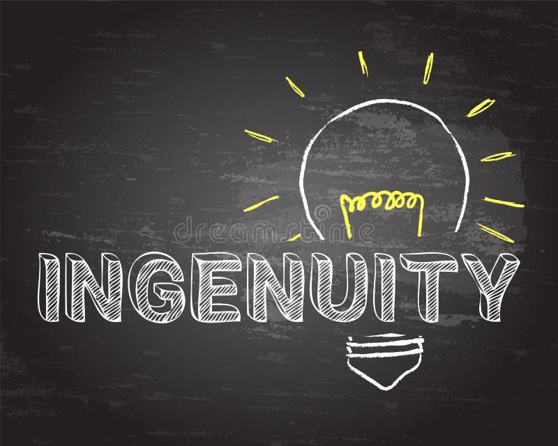 Ingéniosité dans le tableau noir d'ampoule illustration stock