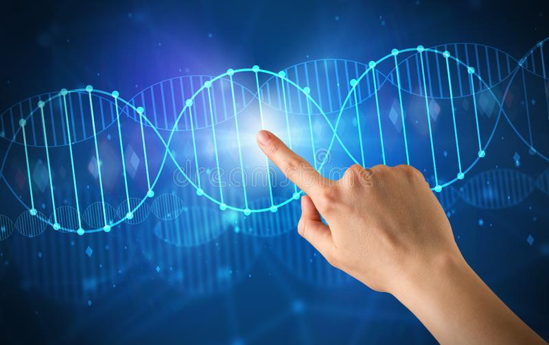 Рука касаясь молекуле ДНК стоковое фото rf