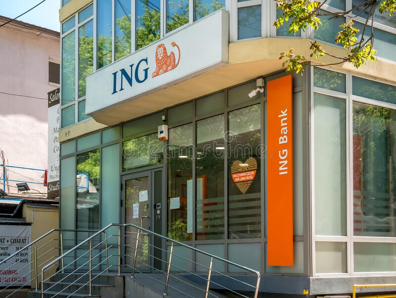 ING Bank branch in Bucharest Romania. Bucharest/Romania – 04.27.2020: ING Bank branch in Bucharest Romania stock image