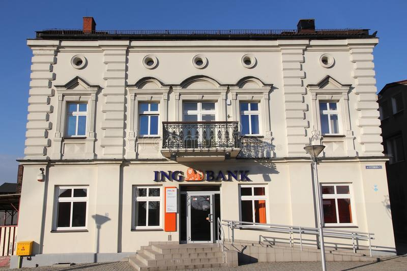 ING Bank, Poland. CZELADZ, POLAND - MARCH 9, 2015: ING Bank branch in Czeladz, Poland. ING Group is a Dutch multinational banking and financial services stock images