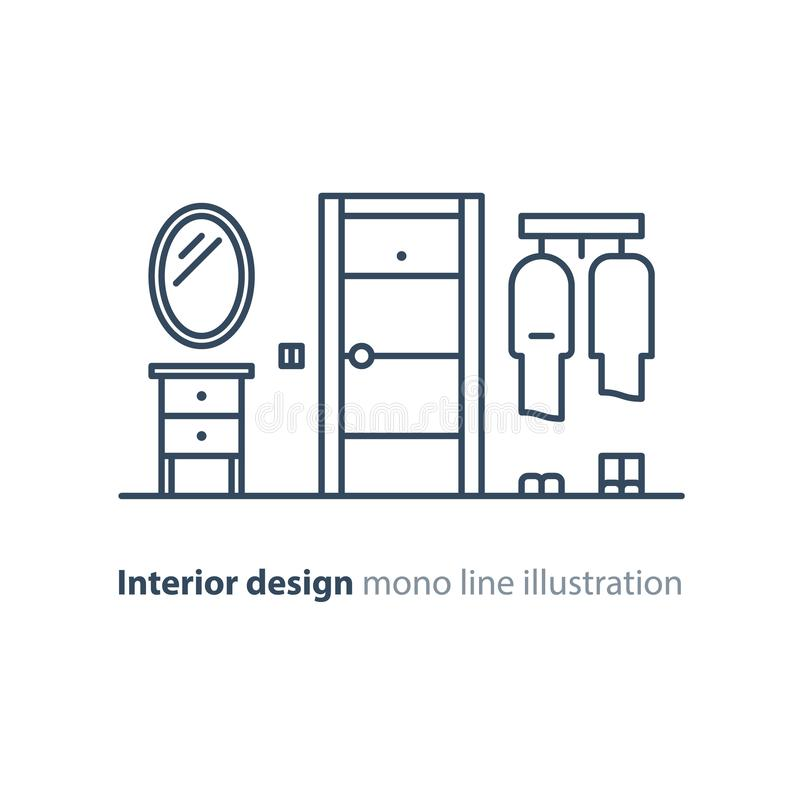 Ing?ngsd?rr, minimalist inredesign, linje illustration stock illustrationer