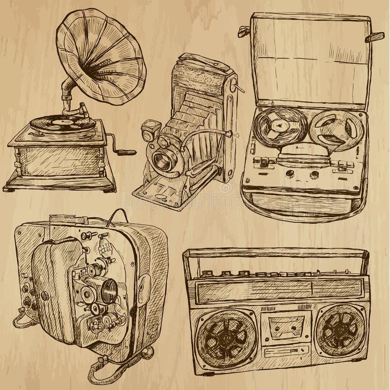 Inga gamla objekt 4 - hand dragen samling royaltyfri illustrationer