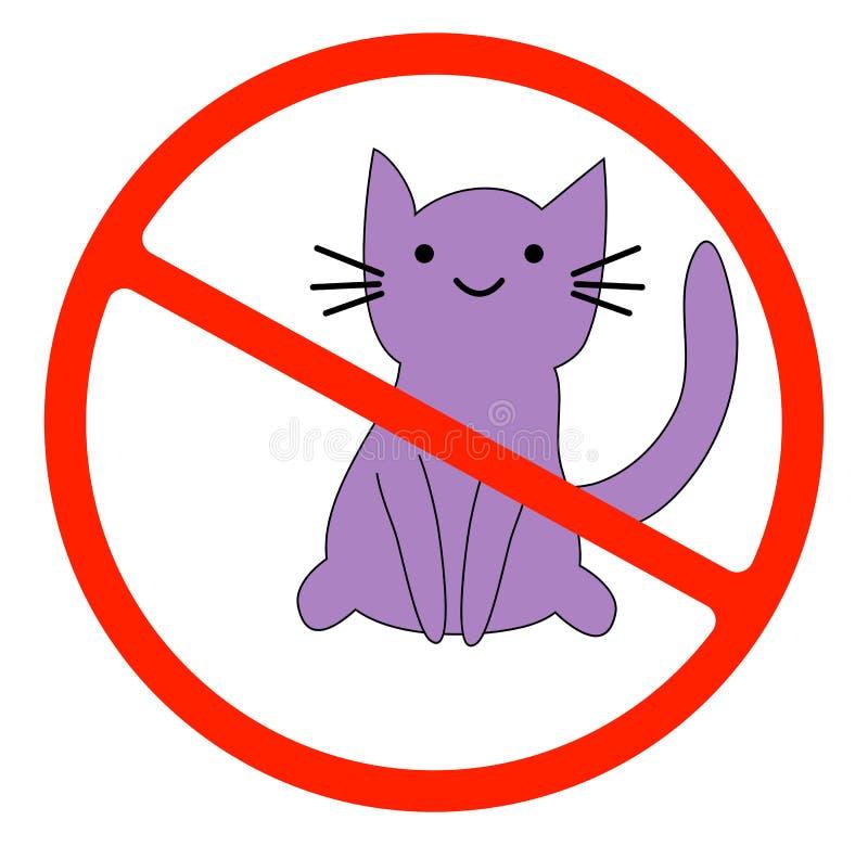 Inga katter Förbjuda teckenläge eller tillträdeet av husdjur vid denna punkt royaltyfri illustrationer